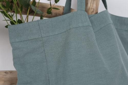 Grand cabas en lin celadon