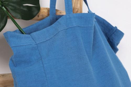 Grand cabas en lin bleu indigo