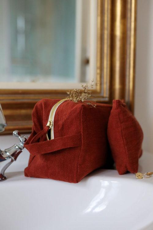 trousse de toilette en lin brun cuivré