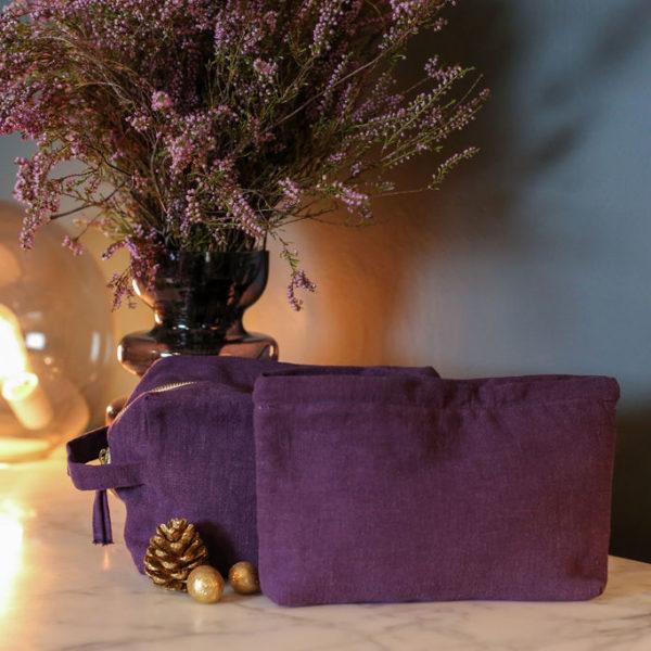 Pochette en lin violet prune
