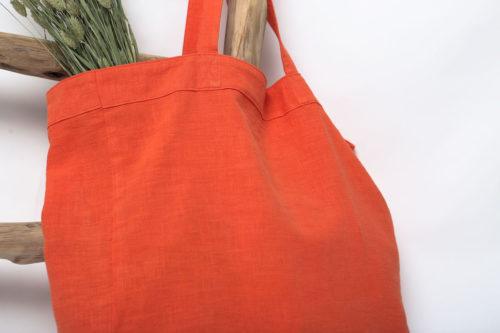 cabas en lin orange corail