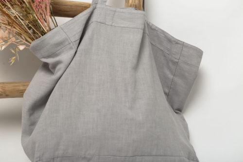 grand cabas en lin gris craie