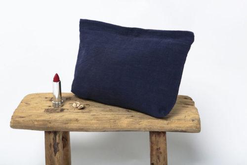 pochette en lin bleu paon