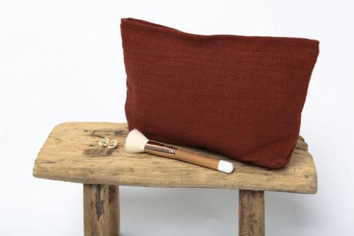 pochette en lin brun cuivré