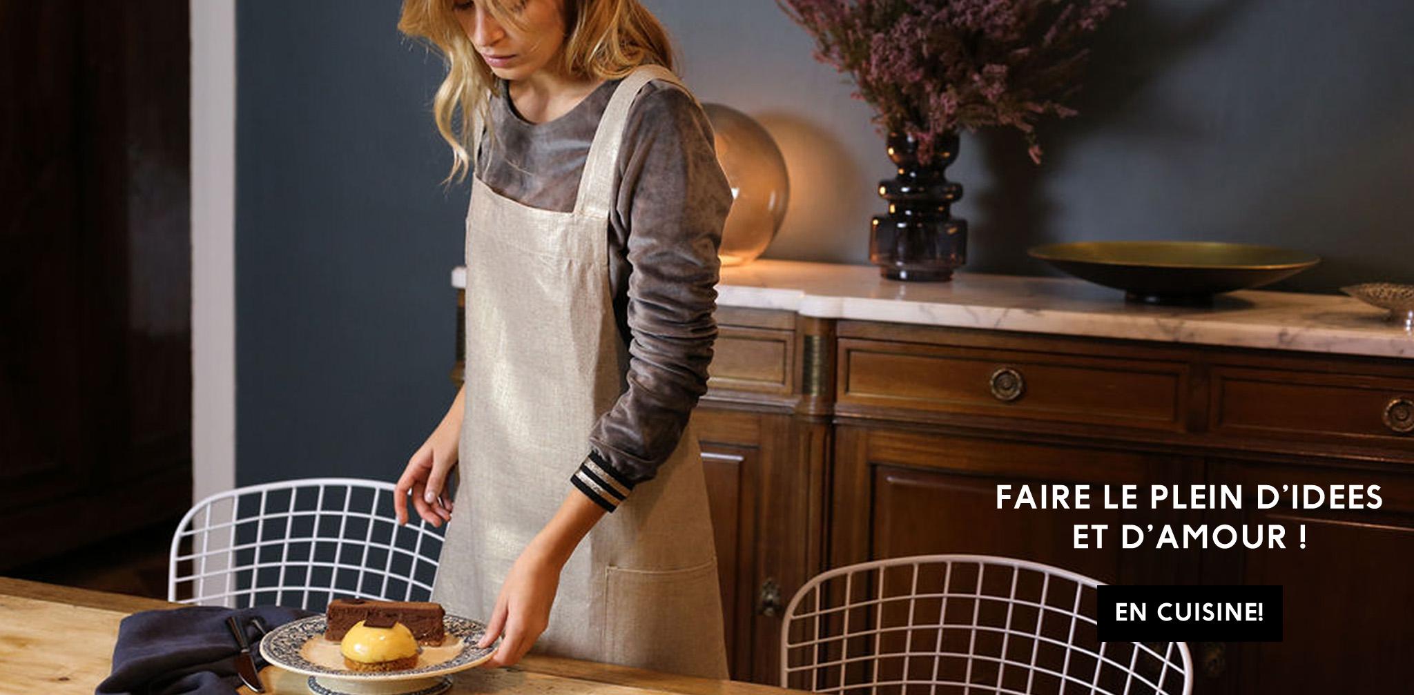 cuisine tablier francais en lin