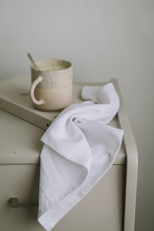 Serviette en lin Blanc